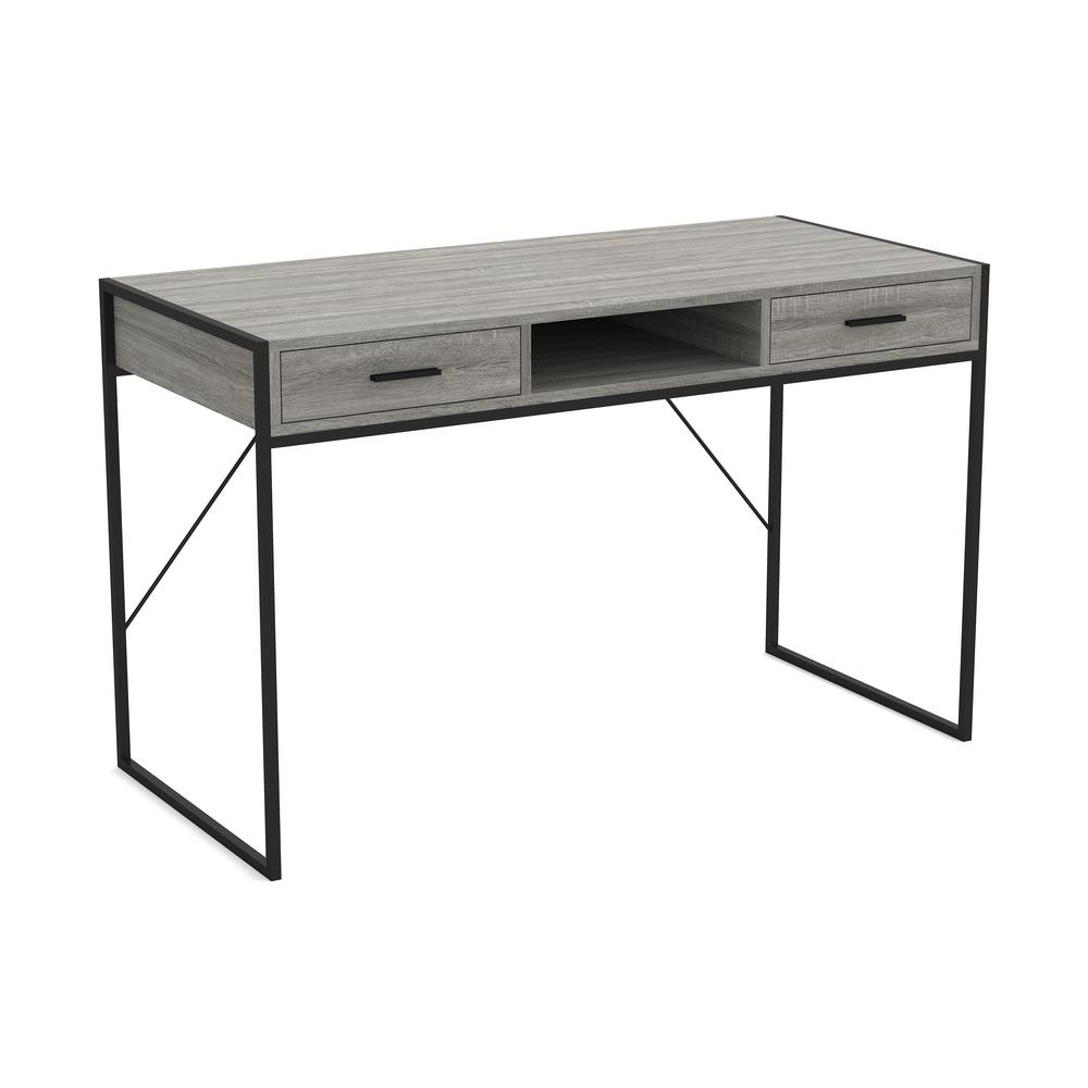 Safdie & Co. 35 in. Gray Rectangular 35 -Drawer Writing Desk with  Shelf-35.Z.35 - The Home Depot
