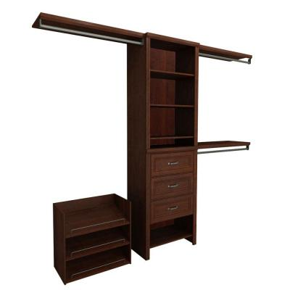 Impressions Premium 60 in. W - 120 in. W Dark Cherry Wood Closet System
