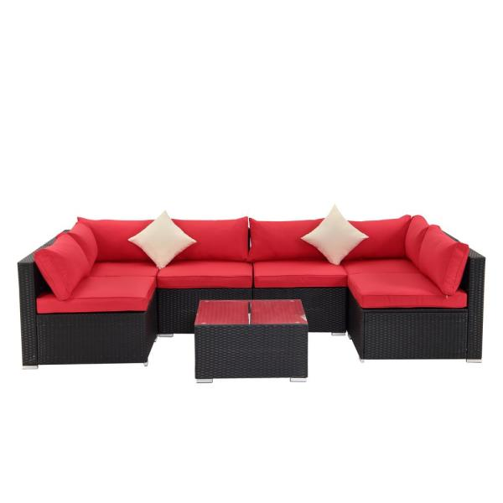 Boyel Living Black 7 Piece Pe Wicker, Outdoor Furniture Sectional Sofa