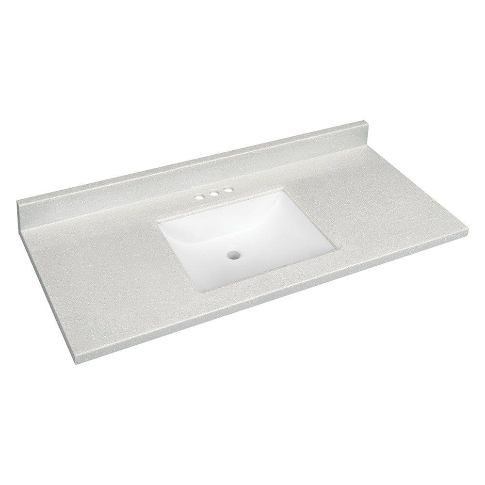 W Solid Surface Technology Vanity Top In Silver Fox With White Basin