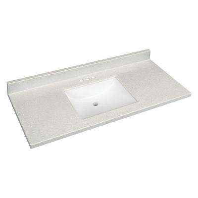 49 in. W Solid Surface Technology Vanity Top in Silver Fox with White Sink