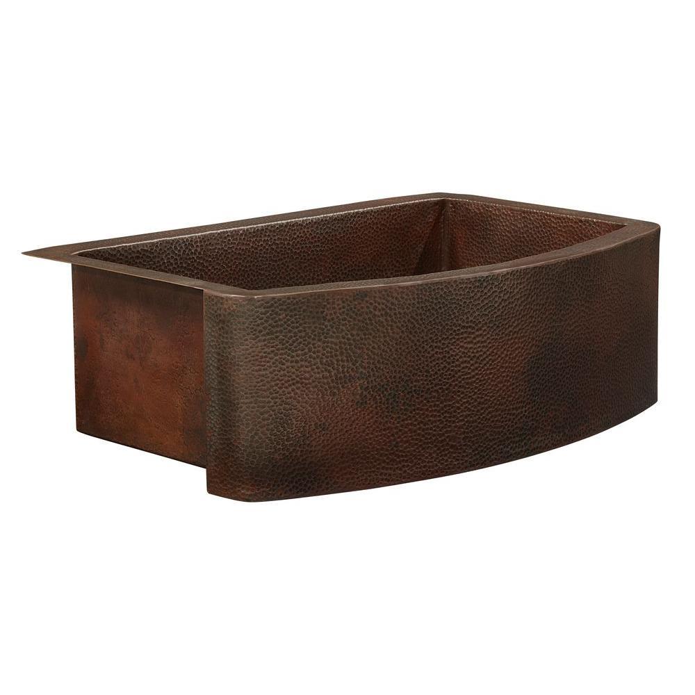 Donatello Farmhouse Apron Front Handmade Pure Copper 36 in. Single Bowl Copper Kitchen Sink Bow Front