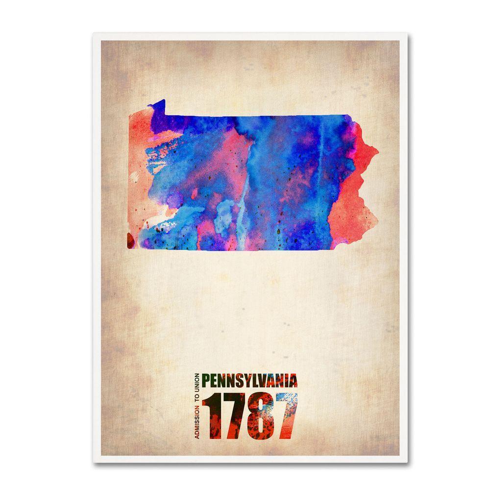 Trademark Fine Art 19 in. x 14 in. Pennsylvania Watercolor Map Canvas Art