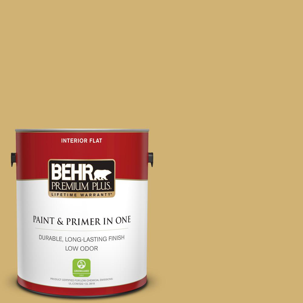 Behr Premium Plus 1 Gal M320 5 Dried Chamomile Flat Low Odor Interior Paint And Primer In One 140001 The Home Depot