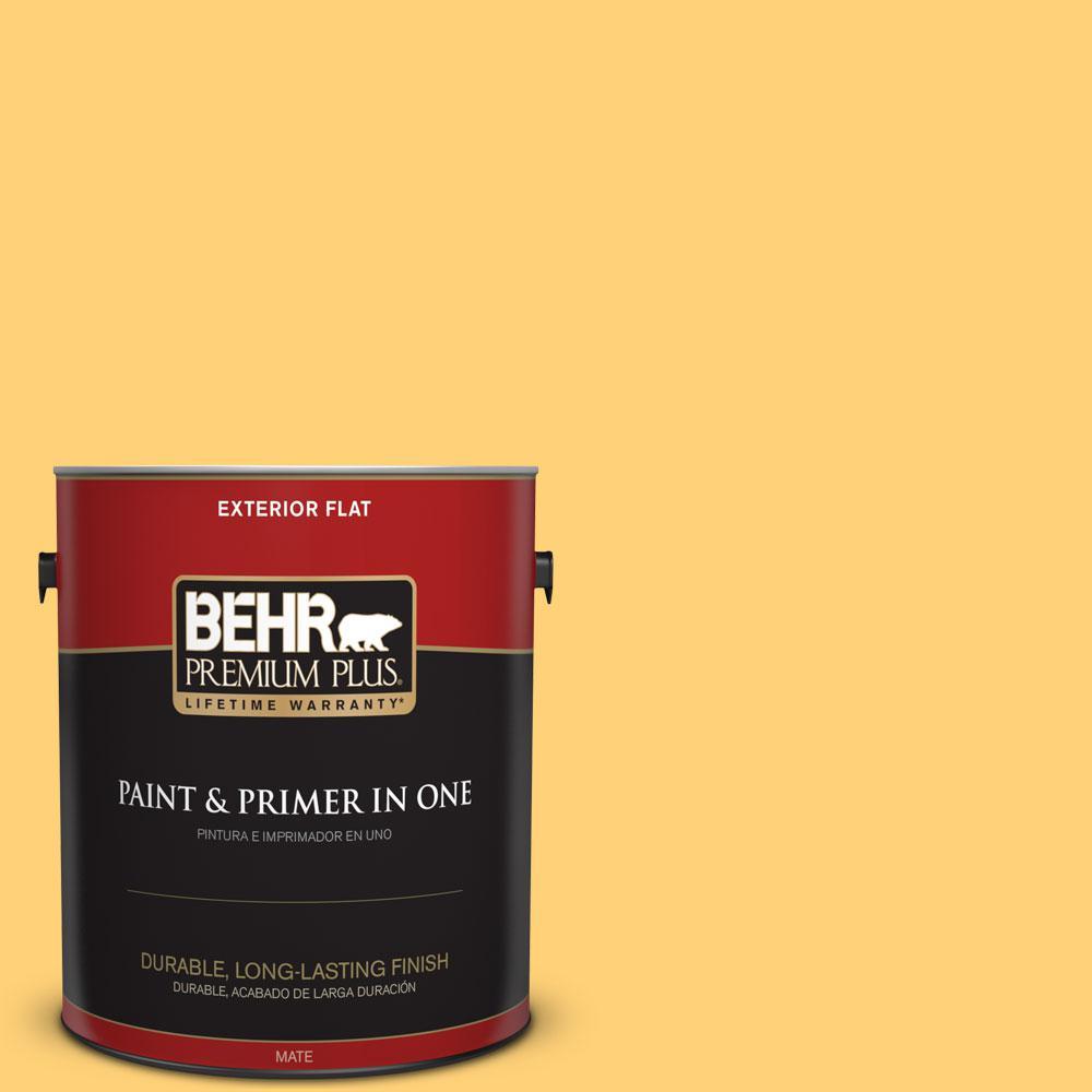 BEHR Premium Plus 1-gal. #P260-5 Yellow Jubilee Flat Exterior Paint