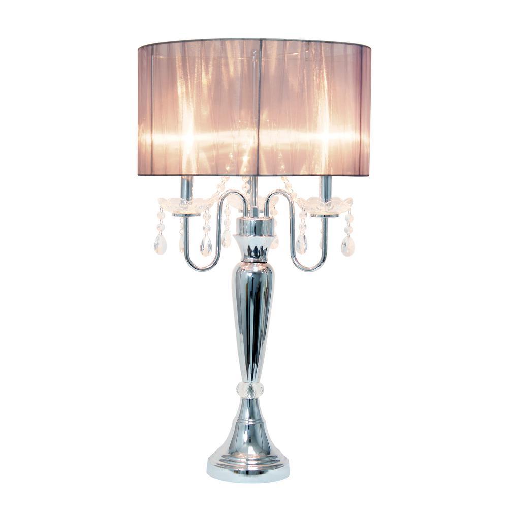 Gray Sheer Shade Table Lamp