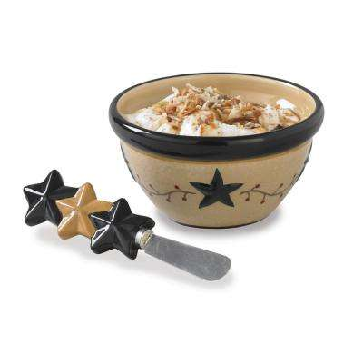 Star Vine 2-Piece Dip Bowl Server with Spreader
