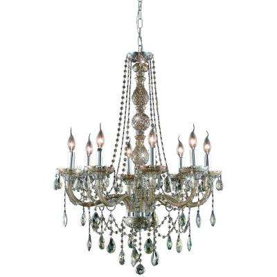 8-Light Golden Teak Chandelier with Golden Teak Smoky Crystal