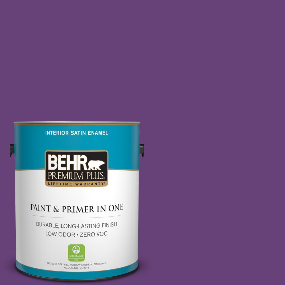 1-gal. #660B-7 Exotic Purple Zero VOC Satin Enamel Interior Paint