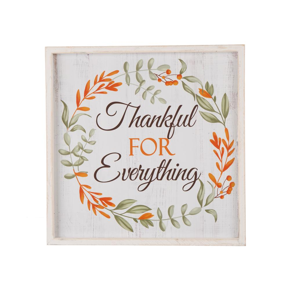 Glitzhome 14. in. Wooden Thanksgiving Word Sign