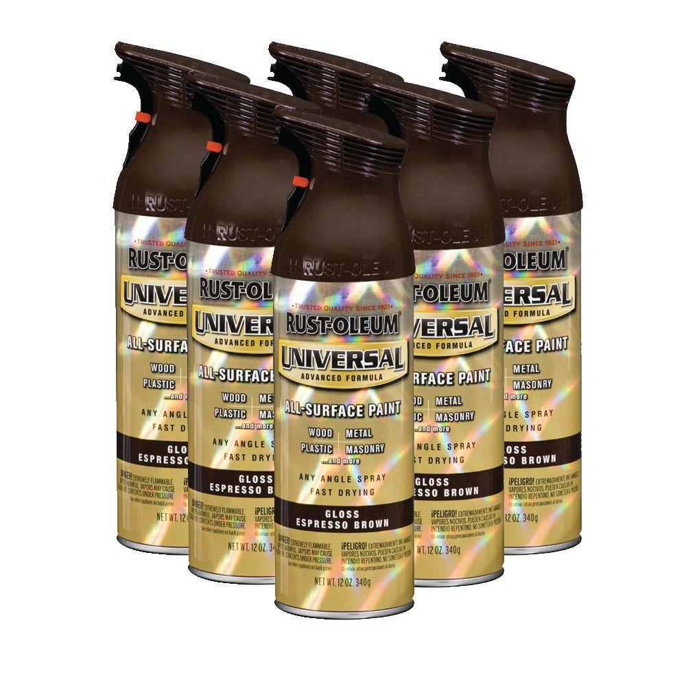 Rust-Oleum Universal 12 oz. Gloss Espresso Brown Spray Paint (6-Pack)-DISCONTINUED