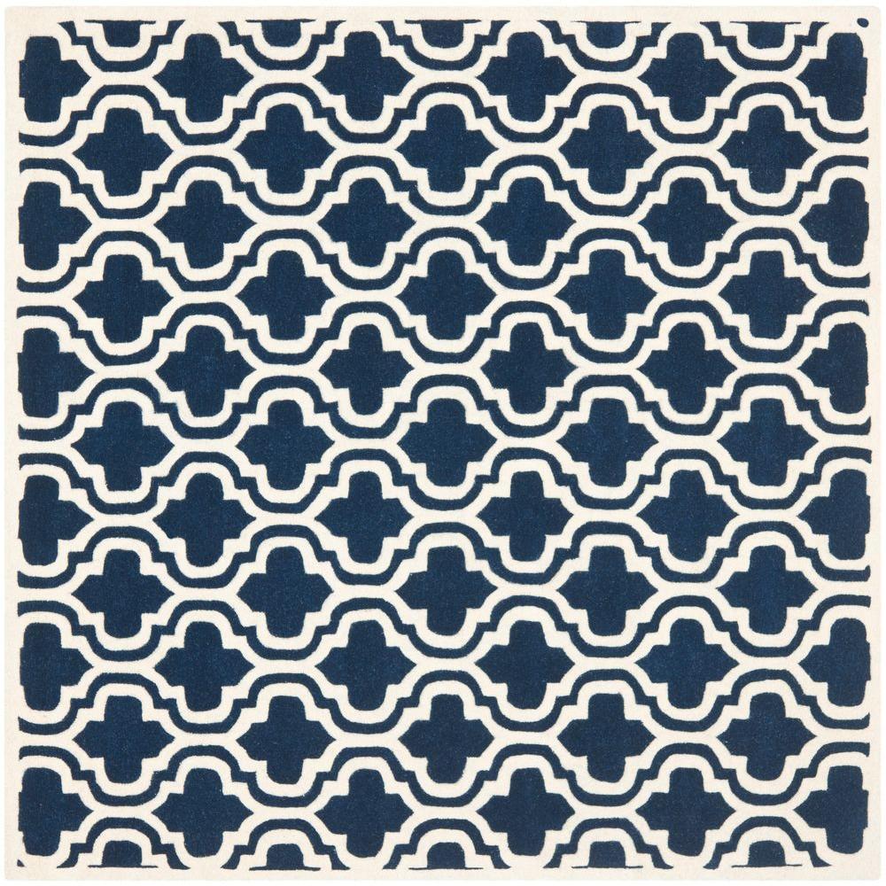 Chatham Dark Blue/Ivory 4 ft. x 4 ft. Square Area Rug