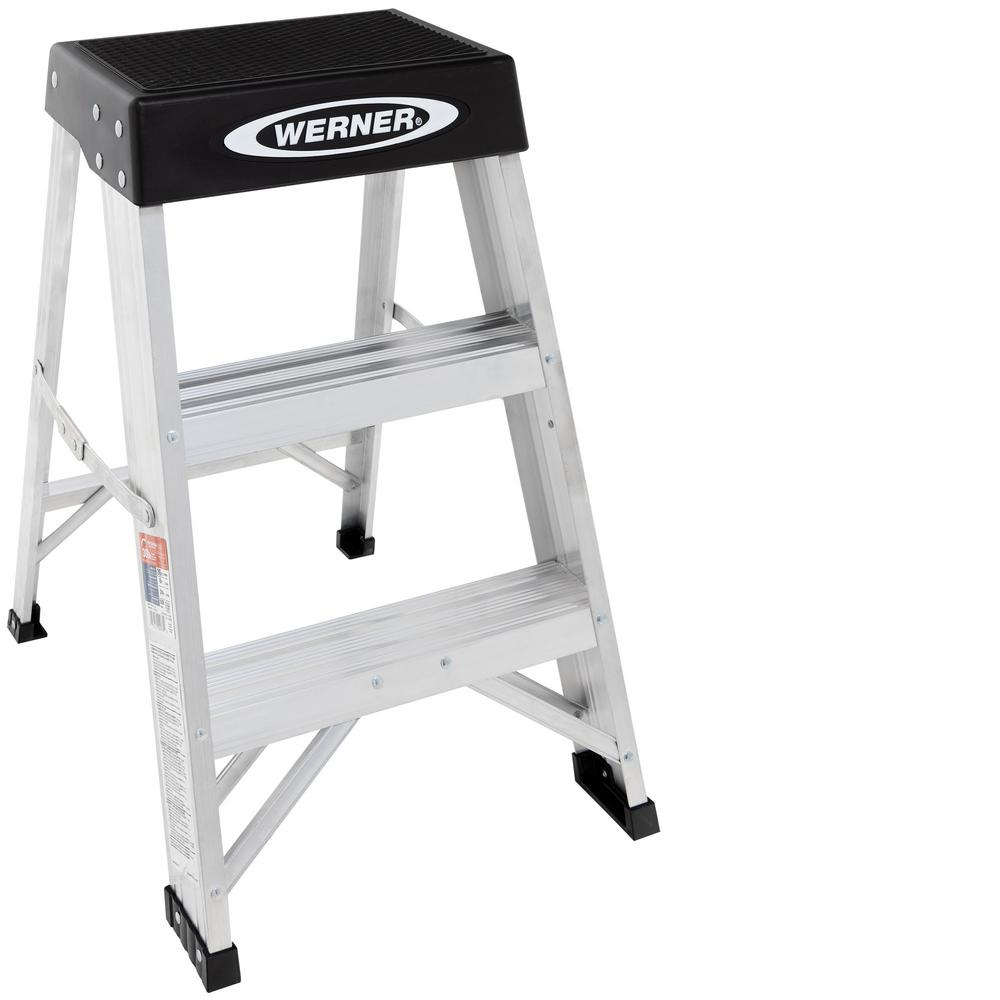 Werner 2 Ft Aluminum Step Ladder With 300 Lb Load Capacity Type Ia Duty Rating 150b The Home Depot