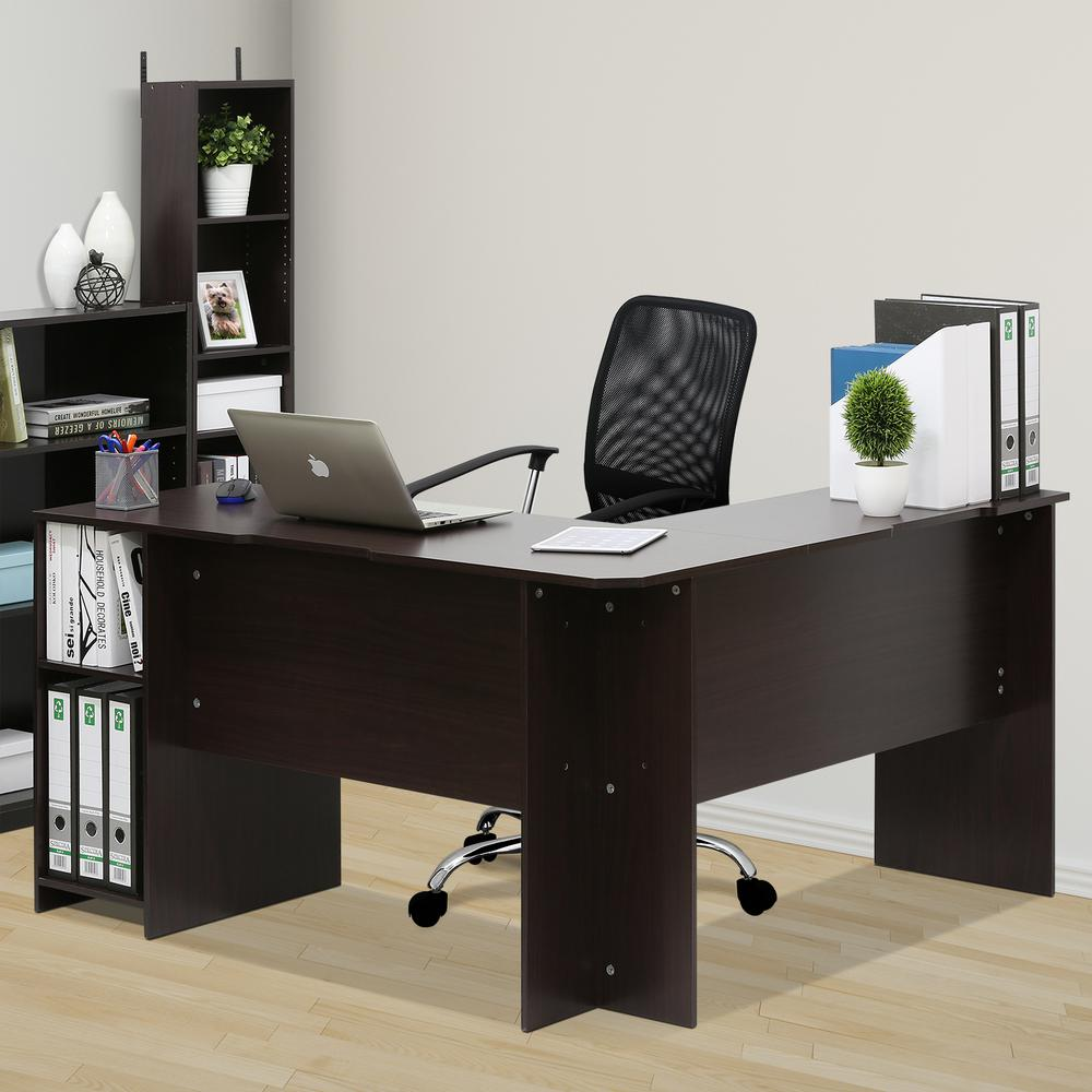 Furinno Indo Espresso L Shaped Desk With Bookshelves