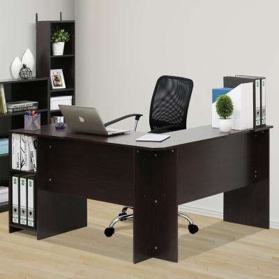 Indo Espresso L-Shaped Desk with Bookshelves