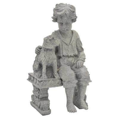 7 in. L x 6 in. W x 12 in. H Resin/Magnesium Boy With Dog On Bench in Gray