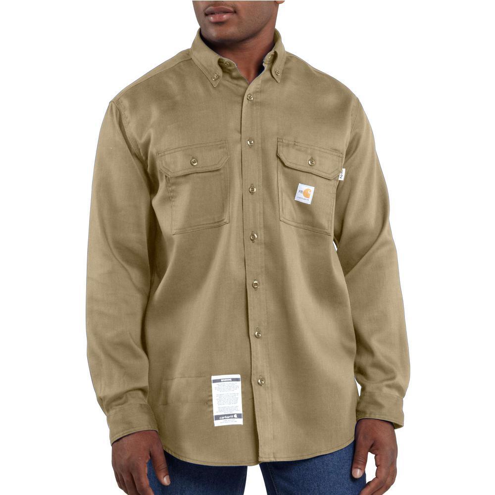 b6c4bd871549 Carhartt Men s Regular Large Khaki FR Light Weight Twill Shirt ...