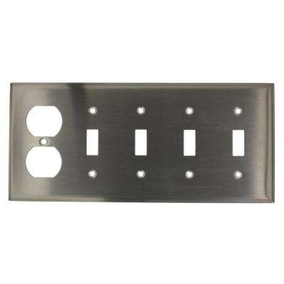 5-Gang Standard Size 4-Toggles 1-Duplex Receptacle Combination Wall Plate, Stainless Steel