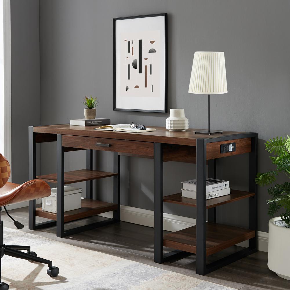 60 in. Dark Walnut Rectangular 1 -Drawer Writing Desk with Keyboard Tray