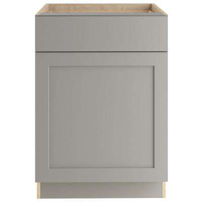 Cambridge Assembled 24x34.49x24.44 in. Base Cabinet with Soft Close Full Extension Drawer in Gray