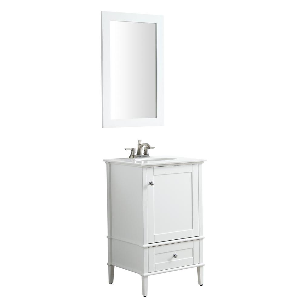 ANZZI Alexander 21 in. W x 34.4 in. H Bath Vanity in Rich White with Stone Vanity Top in White with White Basin and Mirror