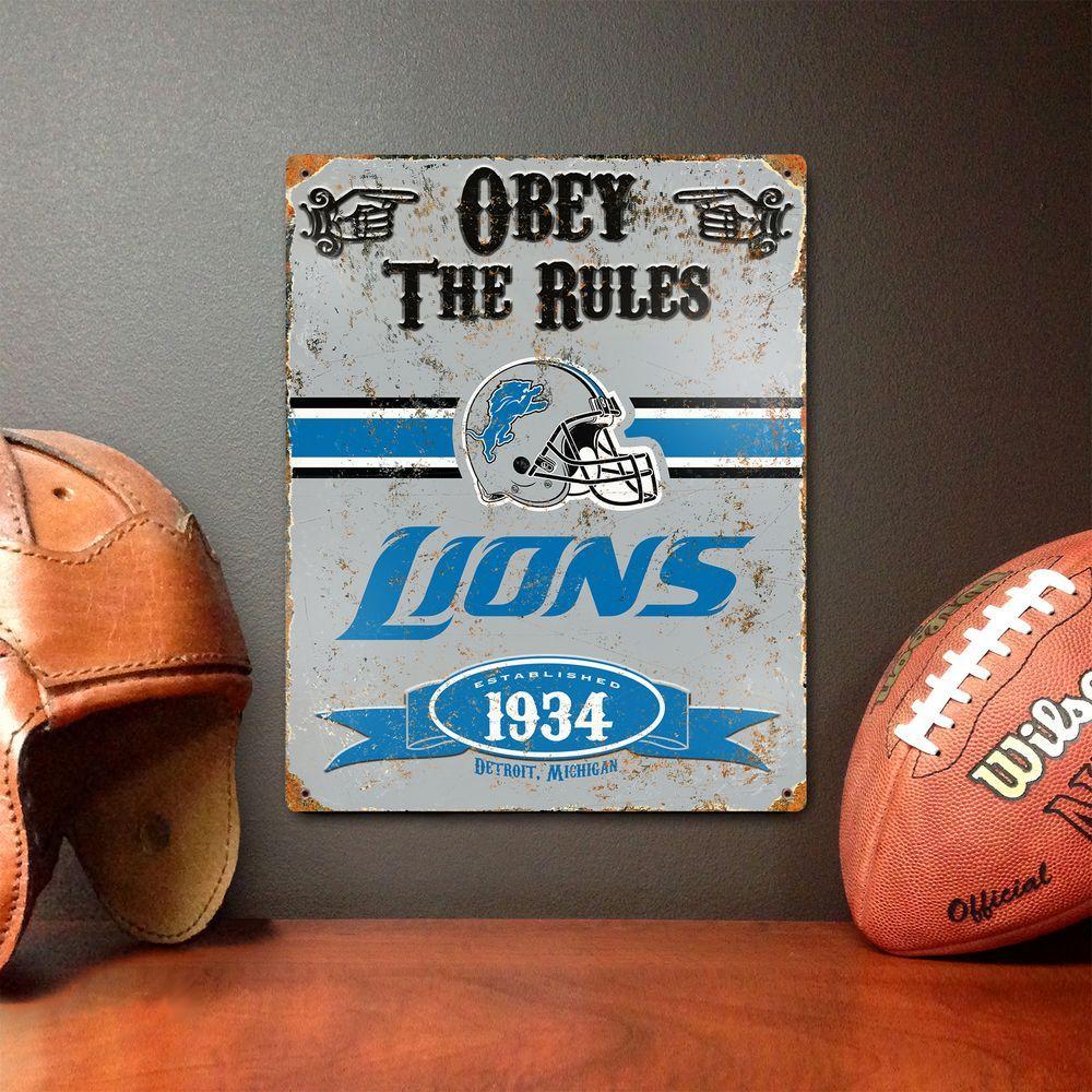 14.5 in. H x 11.5 in. D Heavy Duty Steel Detroit Lions Embossed Metal Sign Wall Art