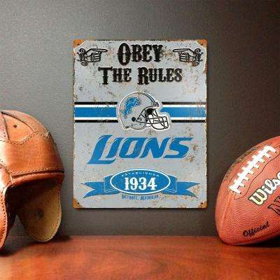 14.5 in. H x 11.5 in. D Heavy Duty Steel Detroit Lions Embossed Metal Sign Wall Art