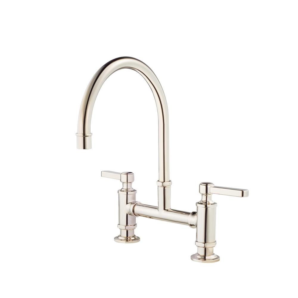 Pfister Port Haven 2 Handle Bridge Kitchen Faucet In Polished Nickel