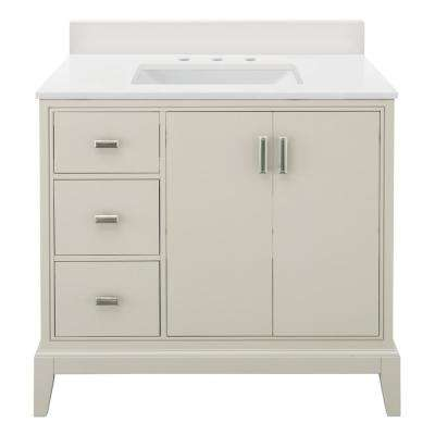 Shaelyn 37 in. W x 22 in. D Vanity in Rainy Day LH with Engineered Marble Vanity Top in Winter White with White Sink