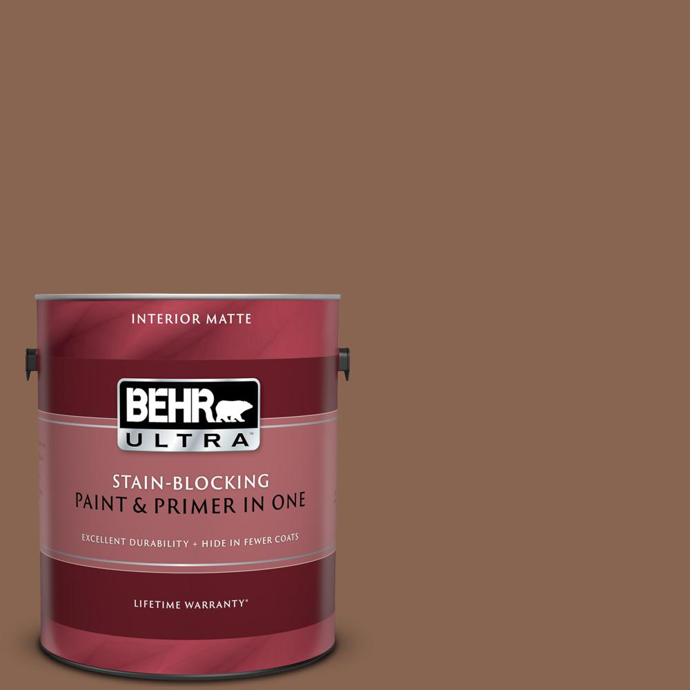 Behr Ultra 1 Gal Ul130 20 Clay Pot Matte Interior Paint And Primer In One 175301 The Home Depot