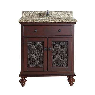 Lana 30 in. W x 22 in. D x 34.5 in. H Bath Vanity in Tobacco with Granite Vanity Top in Tiger with White Basin