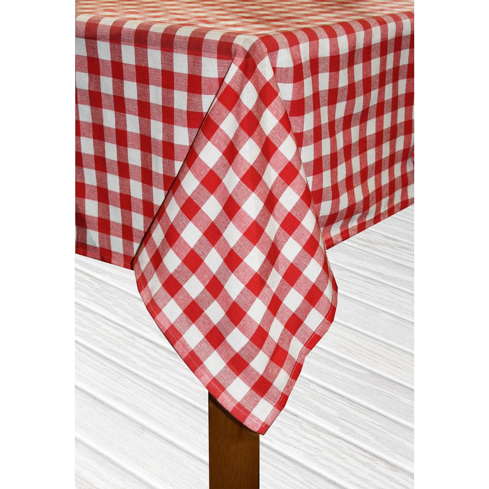 Lintex Buffalo Check 70 In. Round Red 100% Cotton Table Cloth For Any Table