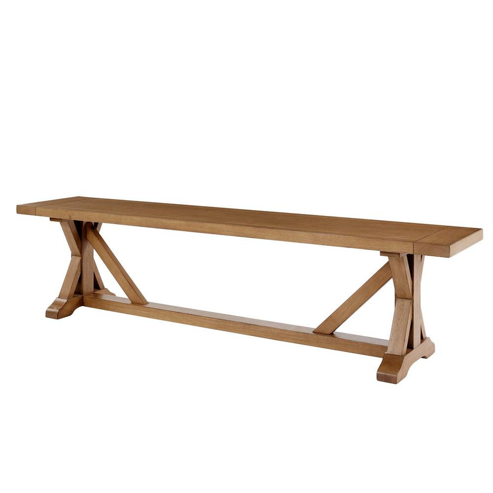 Home Decorators Collection Aberwood Patina Oak Finish Wood Trestle Dining Bench 75 In W X 18 In H Dp18020 P The Home Depot