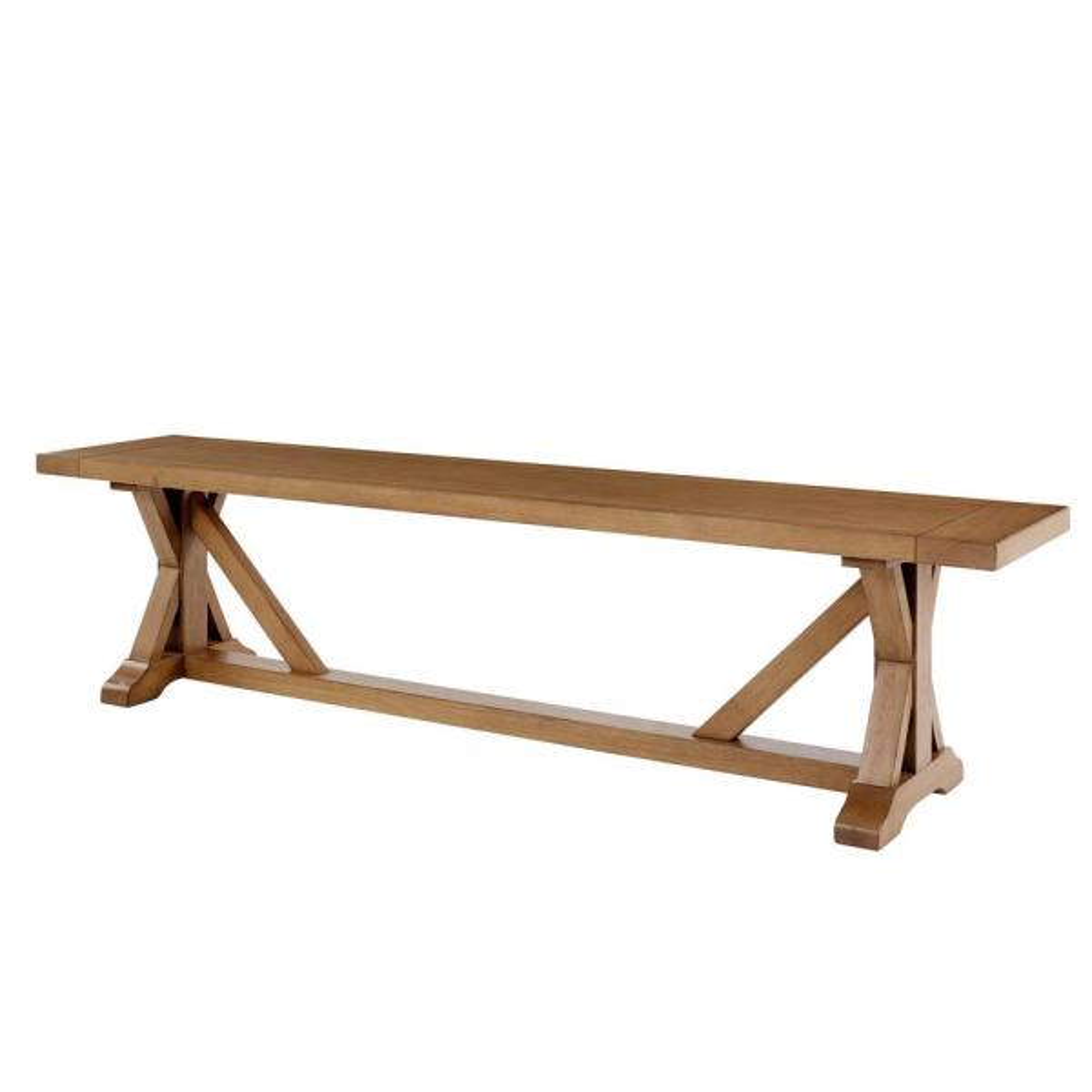 Aberwood Patina Oak Finish Wood Trestle Dining Bench (75 in. W x 18 in. H)