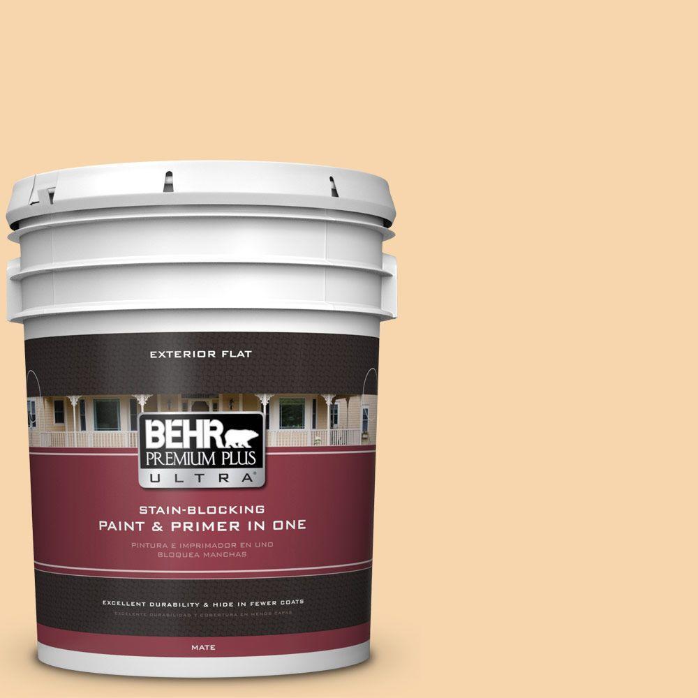 BEHR Premium Plus Ultra 5-gal. #PPU6-8 Pale Honey Flat Exterior Paint