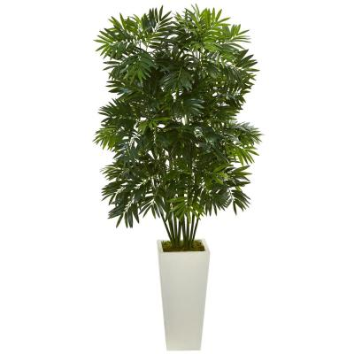 49 in. Mini Bamboo Palm Artificial Pant in White Tower Planter