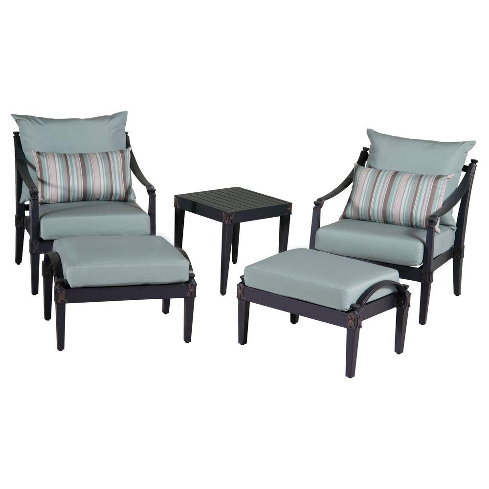 RST Brands Astoria 5 Piece Patio Chat Set With Bliss Blue Cushions