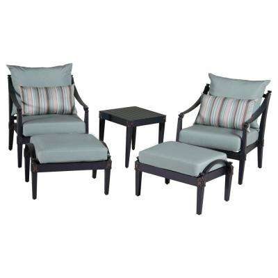 Astoria 5-Piece Patio Chat Set with Bliss Blue Cushions
