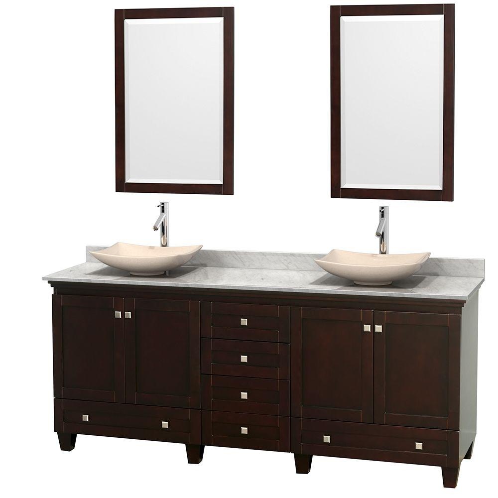 Wyndham Collection Acclaim 80 in. W Double Vanity in Espresso with Marble Vanity Top in Carrara White, Ivory Sinks and 2 Mirrors