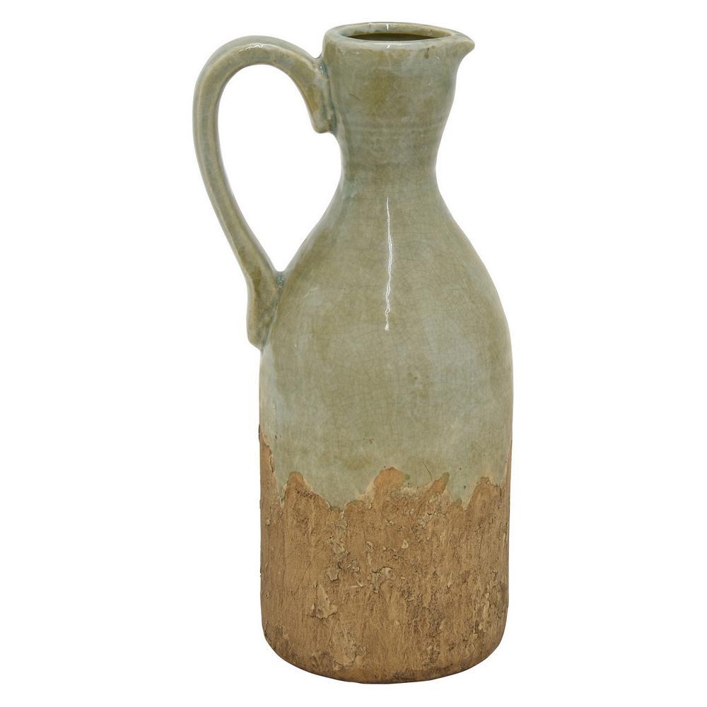 14 in. Green Ceramic Pitcher Vase