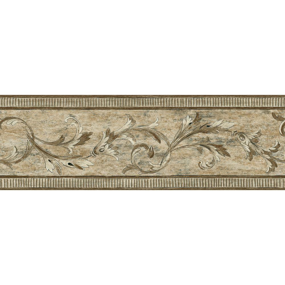 The Wallpaper Company 7 in. x 15 ft. Brown Architectural Scroll Border