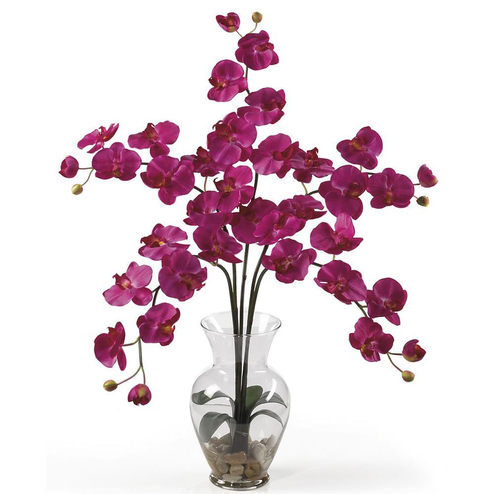31 in. Phalaenopsis Liquid Illusion Silk Flower Arrangement in Beauty