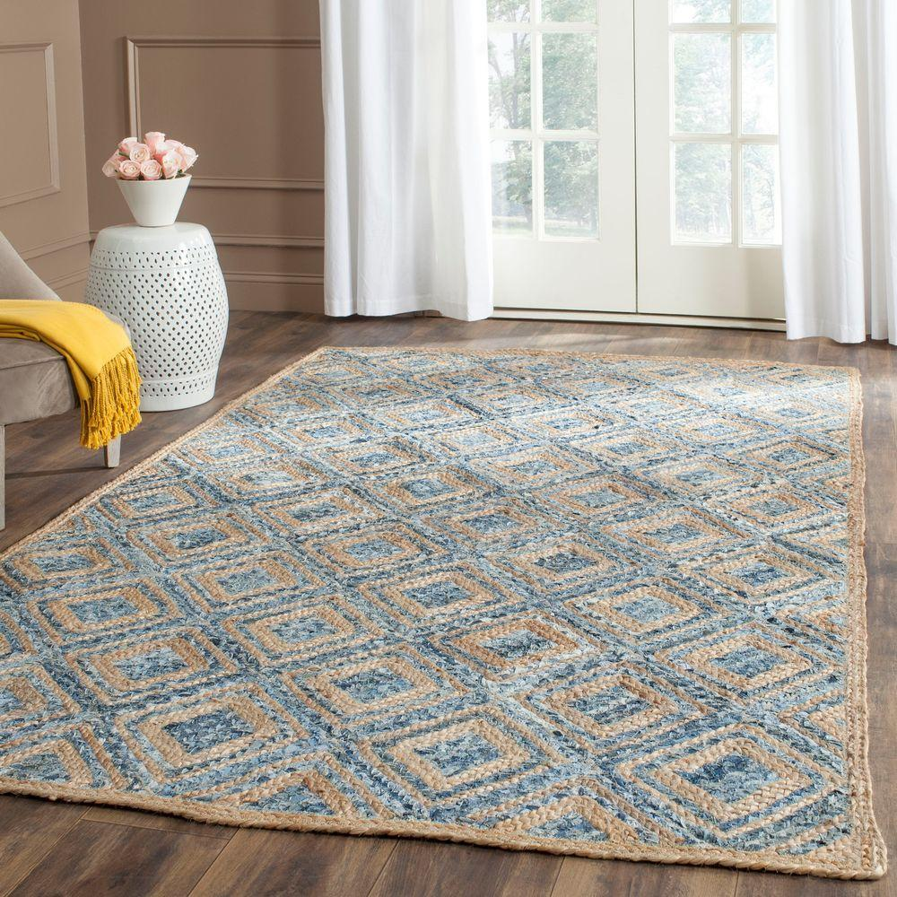 Cape Cod Natural/Blue 9 ft. x 12 ft. Area Rug