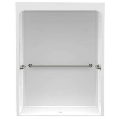Accessible Smooth Wall Cast Acrylic 60 in. x 36 in. x 79 in. 1PC Shower Kit, U-Shaped Grab Bars w/Center Drain in White