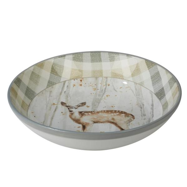 A Woodland Walk 13 in. x 3 in. Grey and Sepia Serving and Pasta Bowl