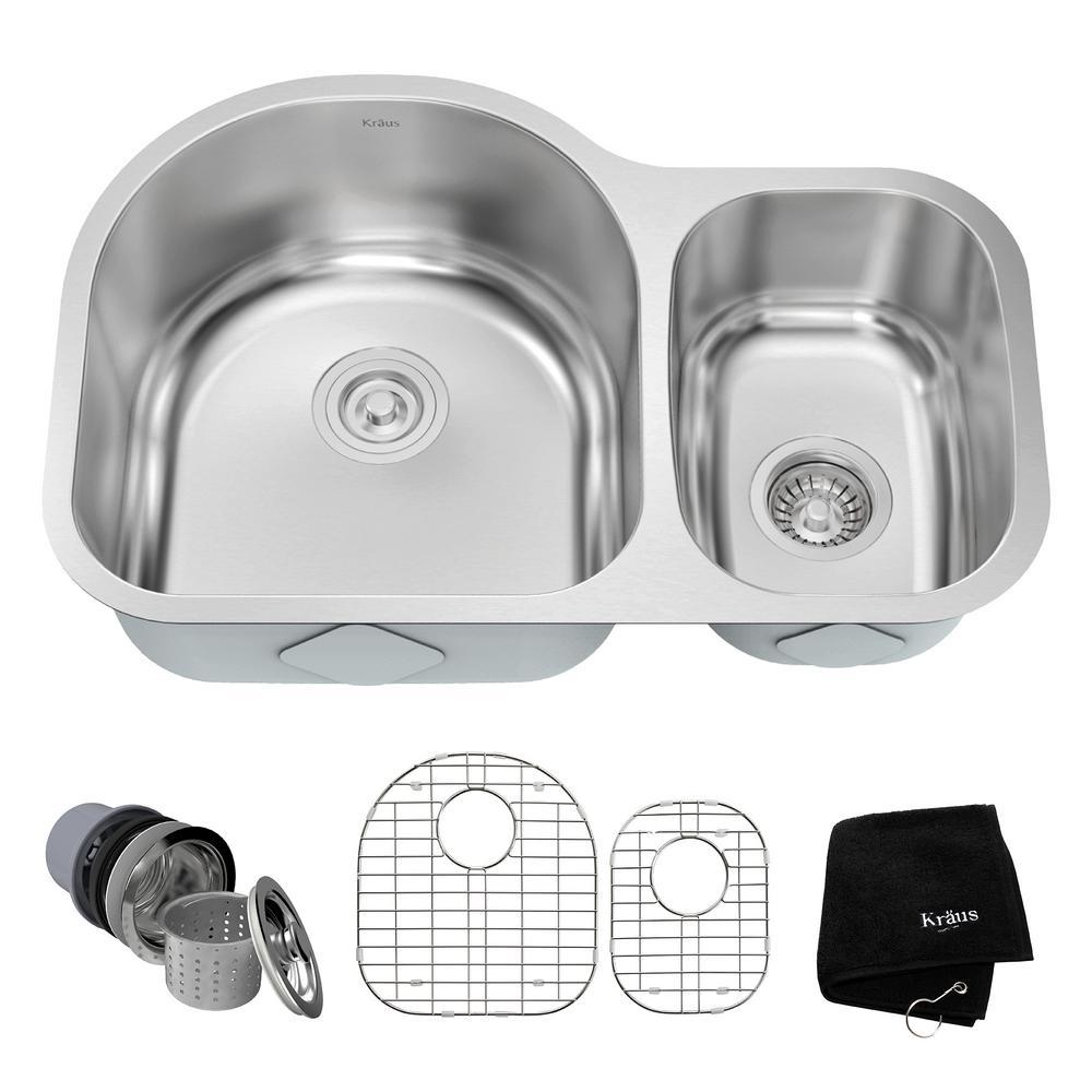 KRAUS Undermount Stainless Steel 29 in. Double Bowl Kitchen Sink Kit