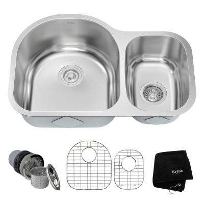 Undermount Stainless Steel 29 in. Double Bowl Kitchen Sink Kit