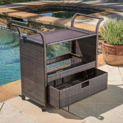 Corona Wicker Outdoor Serving Bar with Ice Bucket