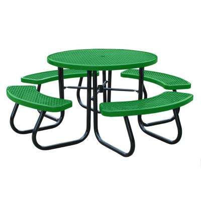 46 in. Light Green Picnic Table with Built-In Umbrella Support