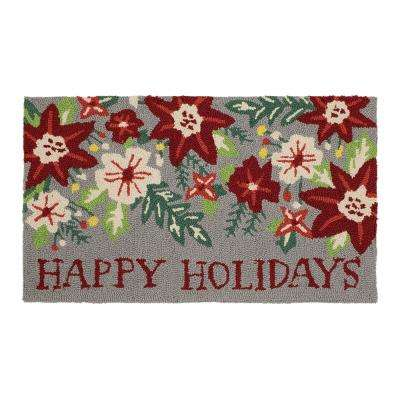 Charmant Snowfall Poinsettia Greetings 18 In. X 30 In. Hand Hooked Door Mat